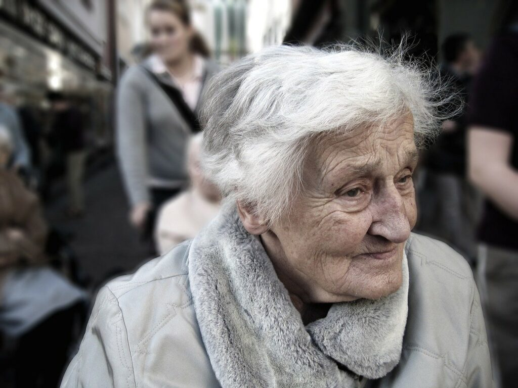 Old woman with a grey hair